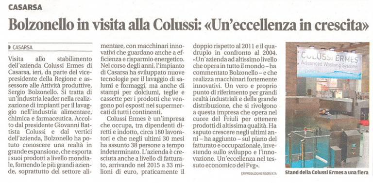Messaggero Veneto del 29 Gennaio 2016