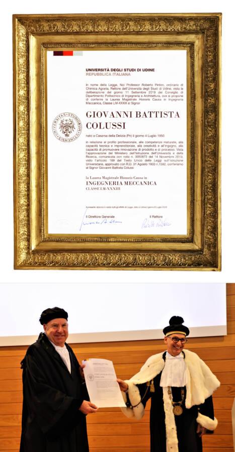 Giovanni Battista Colussi Ingengnere Meccanico Honoris Causa